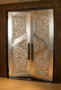 Silver gilded doors by Monica Gotz. Here is a how to. http://thishandcraftedlife.wordpress.com//?s=silver+door&search=Go http://premiumdoorstripping.com