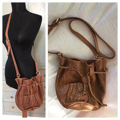 "Zara Woman Brown Leather Drawstring Magnetic Snap Crossbody Bag 9 x 9.5 x 6"" #Zara #MessengerCrossBody"