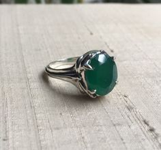 Green Onyx and Sterling- Damselfly and Dragonfly Ring