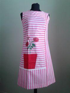 60's MOD Skimmer Dress Vintage/ Deadstock/ Fashion Frocks/ Fine cotton/ / Size medium/ Novelty print/Screen print/ Spring/Summer