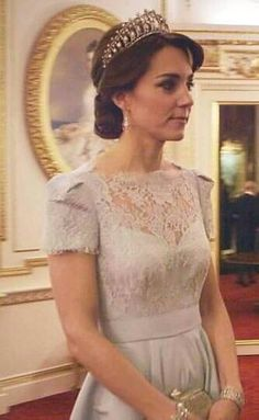 From last December's diplomatic reception at Buckingham Palace wearing the Lover's Knot Tiara.