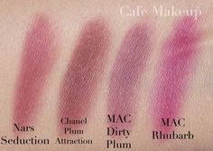 Here, I compare Nars Seduction to some other plummy/ purple/ mauve blushes in my collection: Chanel Plum Attraction, Mac Dirty Plum, and Mac...