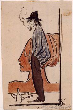 Autorretrato. Pincel y tinta china lavada. 1898. 24,5 x 16 cm. Artista: Jorge Rando.