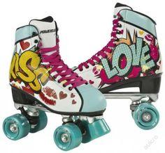Shop Powerslide Women's Kiss Roller Skates - Turquoise, Size Free delivery and returns on all eligible orders. Roller Quad, Roller Disco, Roller Derby, Roller Skating, Rollers, Pop Art, Roller Skate Shoes, Skate 3, Quad Skates