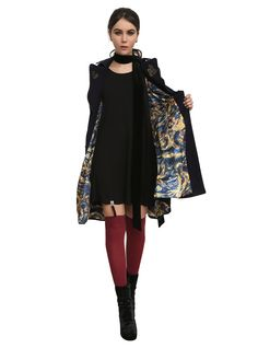 Doctor Who TARDIS Coat, Here's your chance to step inside the TARDIS. Hot Topic exclusive navy coat from Doctor Who with gold tone embroidered gears detailing. Coat lining has an exploding TARDIS print. Two pockets and front button closure.  $89.50