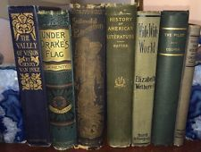 Antique BLUE & GREEN 7 Hardcover Book Lot Distressed Old Decorative Set 1898
