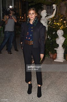 Olivia Palermo wearing Burberry at the Burberry September 2016 show during London Fashion Week SS17 at Makers House on September 19, 2016 in London, England.
