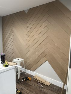 Check out my do it yourself Herringbone Accent Wall to turn any space into a focal point! I absolutely love the way this wall looks! Herringbone Wall, Accent Wall Bedroom, Interior, Accent Walls In Living Room, Home Remodeling, Accent Wall Designs, Master Bedroom Accents, House Interior, Wall Paneling