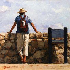 Man with hat | painting by Richard van Mensvoort