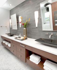 My bathroom vanity design modern bathroom by In Detail Interiors - Cheryl Clendenon Pensacola Florida Modern Bathroom Cabinets, Modern Master Bathroom, Modern Bathroom Design, Bathroom Interior, Small Bathroom, Modern Bathrooms, Bathroom Ideas, Bathroom Bench, Master Baths
