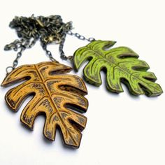 Tropical Leaf Necklace  Its a Jungle Out There by blockpartypress, $45.00