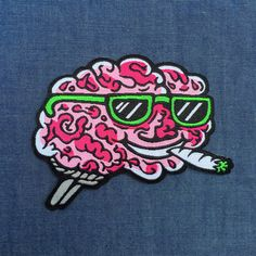 Brain on Drugs 3.5 iron-on patch by killeracid on Etsy