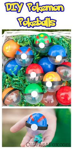 DIY Pokeballs - Make your own Pokemon Poke balls from vending machine capsules.   Perfect for Pokemon Birthday Parties or a Pokemon themed Easter Egg Hunt.