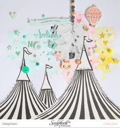 Zwei neue 'Carousel' Layouts (think pink & mint) Baby Scrapbook, Scrapbook Paper Crafts, Scrapbook Albums, Scrapbook Sketches, Scrapbook Page Layouts, Project Life, Crate Paper, Pink, Carousel
