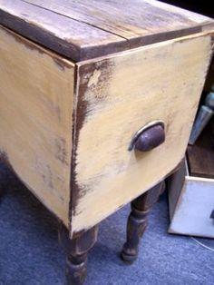 Drawer (upside down) + legs + old wood top = DRAWER SIDE TABLE