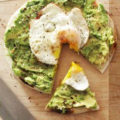 Avocado and Egg Pizza: toast pita bread, drizzle olive oil and lemon juice, spread on mashed avocado, top with an egg, and add just a little salt and pepper