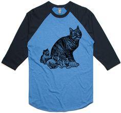 theIndie Cat and Kittens (Black) 3/4-Sleeve Raglan Baseball T-Shirt
