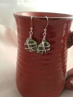 wire wrapped beach glass earrings