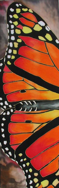 """Monarch"" 50 x 13 inches, hand-painted silk, Pamela Glose Fabric Painting, Fabric Art, Silk Fabric, Fabric Design, Shibori, Batik Art, Paisley Design, Paisley Pattern, Pattern Art"