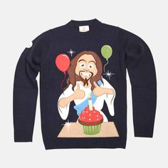 Was gonna buy this to wear on Christmas, but it's sold out. ;.; | Happy Birthday Jesus Christmas Sweater by FunkyXmasSweaters, $69.99