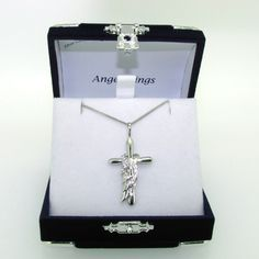 Sterling silver angel wings on cross and chain (001957)