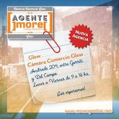 [Nuevo #Agente]more[ #Glew ✹ Cámara Comercio Glew ⇉ Enviá tus #Giros en la calle Andrade 204, entre Gorriti y Del Campo, de Lunes a Viernes de 9 a 16 hs. ¡Los esperamos! ]more[ www.moreargentina.com