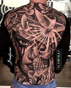 9 back tattoos - Tattoo Designs Aztec Tattoos Sleeve, Tribal Back Tattoos, Cool Back Tattoos, Back Tattoos For Guys, Full Body Tattoo, Body Tattoos, Neck Tattoos, Tatoos, Gangsta Tattoos