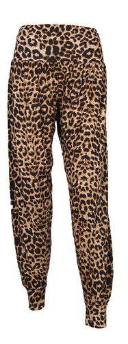 Womens Brown Leopard Print Ali Baggy Harem Trouser Ladies Hareem Pants