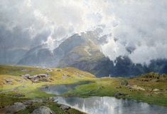 Carl Julius Ludwig - Cloudy Landscape In High Mountains