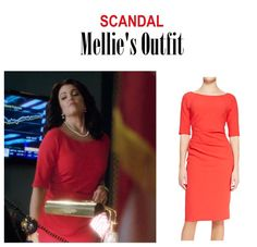 """On the blog: Mellie Grant's (Bellamy Young) red side ruched dress   Scandal - """"Where's the Black Lady"""" (Ep. 411) #tvstyle #tvfashion #outfits #fashion #FLOTUS #fierce Scandal Fashion, Fashion Tv, Lela Rose, Ruched Dress, Neiman Marcus, Work Wear, Black Women, Black Lady, Dresses For Work"""