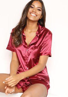 b6a355ca65 Missyempire - Emma Wine Satin Button Up Pyjama Set Button Up Pajamas