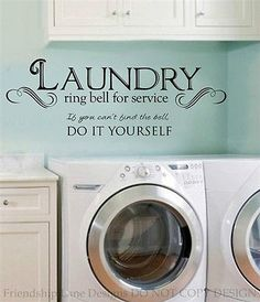 LAUNDRY ROOM ring bell for service VINYL wall decal/words/quote/sticker/letters