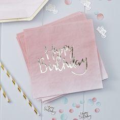 Happy Birthday Pink Ombre 20 Paper Napkins