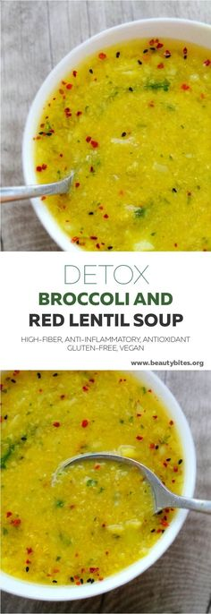 Detox soup recipe with broccoli and red lentils - delicious, warming, but also anti-inflammatory, high-fiber and antioxidant-rich. Also veganhttp://www.beautybites.org/broccoli-red-lentil-detox-soup/