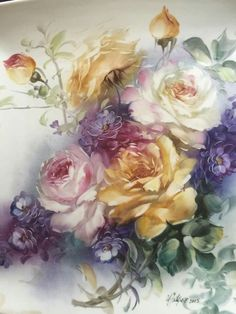 Victorian Flowers, Vintage Flowers, Decoupage, China Painting, Fabric Painting, Flower Art, Watercolor Paintings, Art Prints, Rose Prints