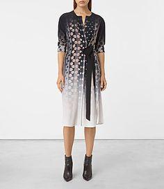 Womens Caso Polka Silk Dress (Chalk White) - product_image_alt_text_1