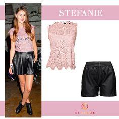 Stefanie Giesinger mit rosa Spitzentop und Ledershorts Skater Skirt, Skirts, Style, Fashion, Pink, Leather, Swag, Moda, Skirt