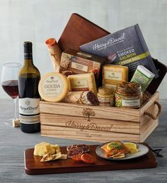 Order the Artisan Meat and Cheese Gift with Wine from Harry & David, the perfect wine gift. Cheese Gift Baskets, Cheese Gifts, Wine Gift Baskets, Basket Gift, Food Gift Baskets, Raffle Baskets, Gourmet Food Gifts, Gourmet Recipes, Harry And David