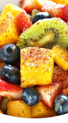 Spicy Fruit Salad: easy and yummy Mexican Fruit Salads, Creamy Fruit Salads, Tropical Fruit Salad, Mexican Snacks, Best Fruit Salad, Summer Salads With Fruit, Fruit Salad Recipes, Fruit Dishes, Mexican Food Recipes