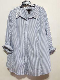 42ef237a53463f Lane Bryant Embellished Collar Striped Button Down Shirt sz.28