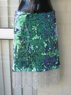 RESERVED...Revamped Stunning Aqua Green Mermaid Shimmer Sequin OOAK Vintage  Beaded Trim Embellished Mini Skirt