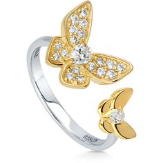 BERRICLE Yellow Gold Plated Sterling Silver CZ Butterfly Fashion Right... ($43) ❤ liked on Polyvore featuring jewelry, rings, clear, women's accessories, cocktail rings, butterfly ring, gold plated rings, sterling silver cocktail rings and cubic zirconia band rings