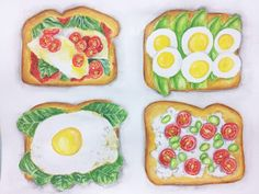Healthy Toast- Watercolor Painting by Erika Lancaster