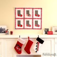 Sizzix Tutorial | Stocking Mini Quilt by Nicole Daksiewicz..This is a great project for a beginning quilter that is also new to appliqué, as the size of the shape we are sewing around is larger and not complicated.This Finished Mini measures 27″ x 33.5″