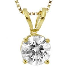 "10k Yellow Gold Round Diamond Solitaire Pendant Necklace (1/2 cttw, I-J Color, I2-I3 Clarity), 18"" Amazon Curated Collection. $555.75. The total diamond carat weight listed is approximate. Variances may be up to .05 carats.. Made from gleaming 10k yellow gold, this fantastic diamond solitaire pendant features a brilliant round diamond with I-J color and I2-I3 clarity. Accompanied by an 18"" box chain. Made in USA"