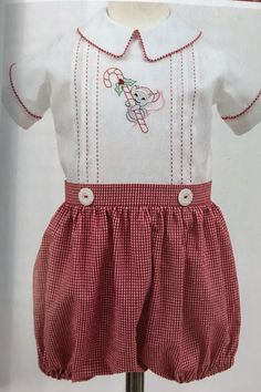 """""""Holiday Joy, Boy"""", Joy Welsh Created These Whimsical Designs Vintage Baby Clothes, Cute Baby Clothes, Christmas Sewing, Christmas Baby, Baby Sewing, Sew Baby, Baby Boy Outfits, Kids Outfits, Holiday Outfits"""