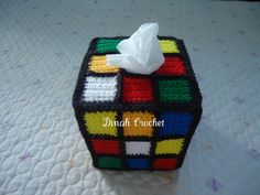 Dinah's Crochet Stuff : Crochet Rubik's Cube Tissue Box Cover I know someone who would LOVE this! Crochet Motif, Crochet Yarn, Easy Crochet, Crochet Patterns, Tissue Box Covers, Tissue Boxes, Tissue Holders, Crochet Home Decor, Covered Boxes