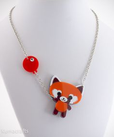 Happy Red Panda Necklace Pendant With Balloon
