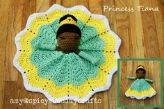spicy tuesday crafts: My notes for the Pretty Princess Lovey pattern - Disney Collection Crochet Princess, Crochet Lovey, Manta Crochet, Baby Blanket Crochet, Crochet Dolls, Free Crochet, Crochet Crafts, Crochet Projects, Princesa Tiana