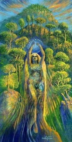 """""""All of the lifeforms on this planet are a part of Gaia - part of one spirit goddess that sustains life on earth. Since this transformation into a living system the interventions of Gaia have brought about the evolving diversity of living creatures on pla Gaia Goddess, Earth Goddess, Psychedelic Art, Pagan Art, Psy Art, Sacred Feminine, Visionary Art, Gods And Goddesses, Deities"""